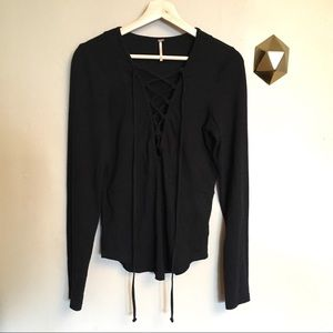 Free People Lucky Lace Up Long Sleeve Top Black M
